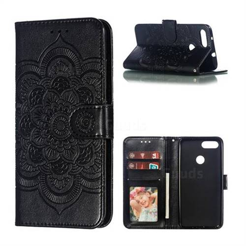 Intricate Embossing Datura Solar Leather Wallet Case for Asus Zenfone Max Plus (M1) ZB570TL - Black
