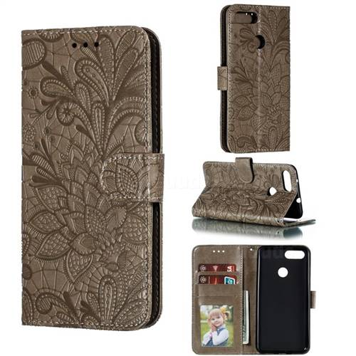Intricate Embossing Lace Jasmine Flower Leather Wallet Case for Asus Zenfone Max Plus (M1) ZB570TL - Gray