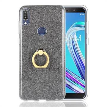 Luxury Soft TPU Glitter Back Ring Cover with 360 Rotate Finger Holder Buckle for Asus Zenfone Max Pro (M1) ZB601KL - Black