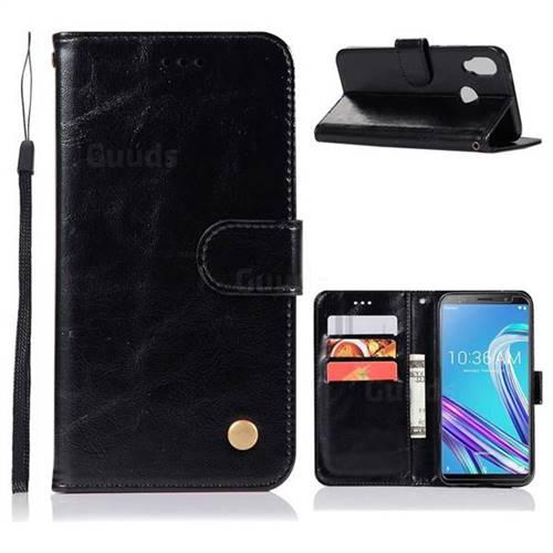 Luxury Retro Leather Wallet Case for Asus Zenfone Max Pro (M1) ZB601KL - Black
