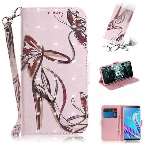 Butterfly High Heels 3D Painted Leather Wallet Phone Case for Asus Zenfone Max Pro (M1) ZB601KL