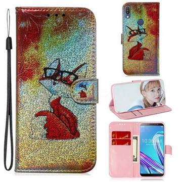 Glasses Fox Laser Shining Leather Wallet Phone Case for Asus Zenfone Max  Pro (M1) ZB601KL
