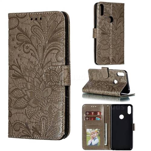 Intricate Embossing Lace Jasmine Flower Leather Wallet Case for Asus Zenfone Max Pro (M1) ZB601KL - Gray