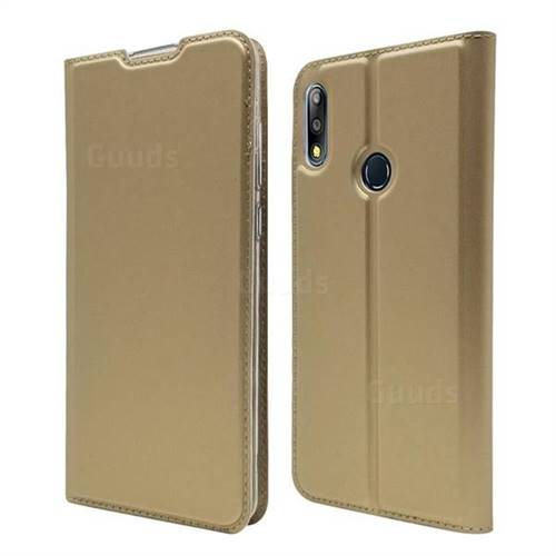 Ultra Slim Card Magnetic Automatic Suction Leather Wallet Case for Asus Zenfone Max Pro (M2) ZB631KL - Champagne