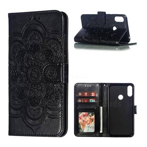 Intricate Embossing Datura Solar Leather Wallet Case for Asus Zenfone Max Pro (M2) ZB631KL - Black
