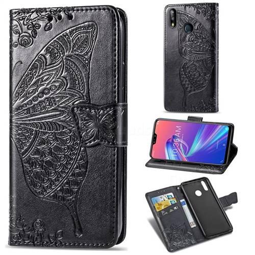 Embossing Mandala Flower Butterfly Leather Wallet Case for Asus Zenfone Max Pro (M2) ZB631KL - Black