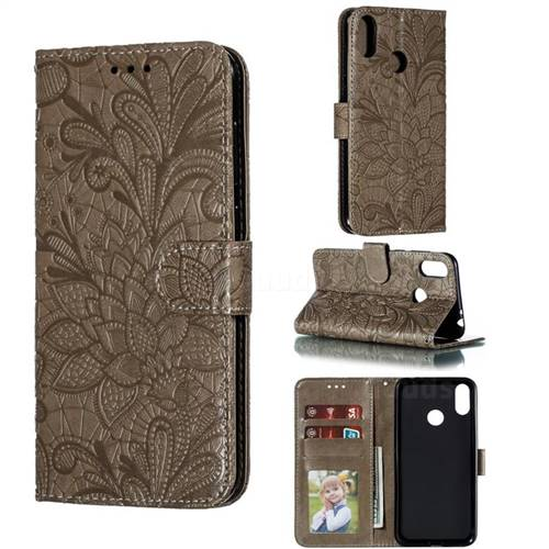 Intricate Embossing Lace Jasmine Flower Leather Wallet Case for Asus Zenfone Max Pro (M2) ZB631KL - Gray