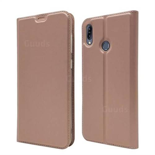 Ultra Slim Card Magnetic Automatic Suction Leather Wallet Case for Asus Zenfone Max (M2) ZB633KL - Rose Gold