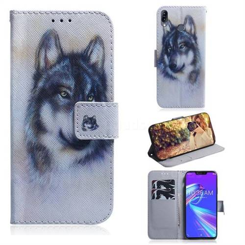 Snow Wolf PU Leather Wallet Case for Asus Zenfone Max (M2) ZB633KL