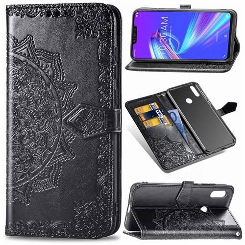 Embossing Imprint Mandala Flower Leather Wallet Case for Asus Zenfone Max (M2) ZB633KL - Black