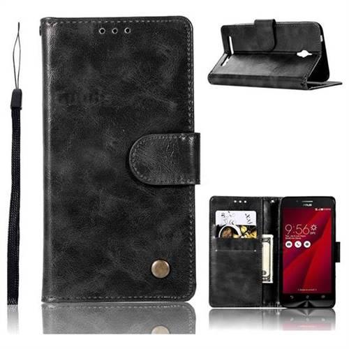 Luxury Retro Leather Wallet Case for Asus Zenfone Go ZC500TG - Black