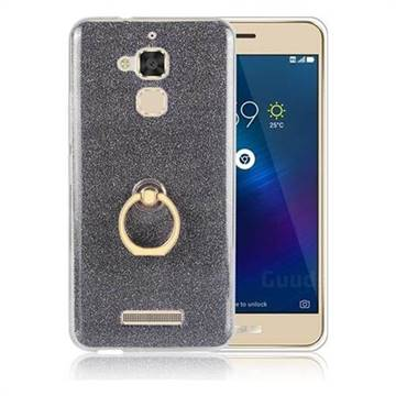 Luxury Soft TPU Glitter Back Ring Cover with 360 Rotate Finger Holder Buckle for Asus Zenfone 4 Max ZC520KL - Black