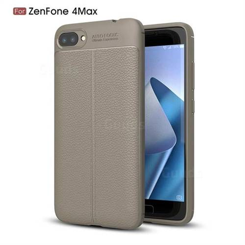 Luxury Auto Focus Litchi Texture Silicone TPU Back Cover for Asus Zenfone 4 Max ZC520KL - Gray
