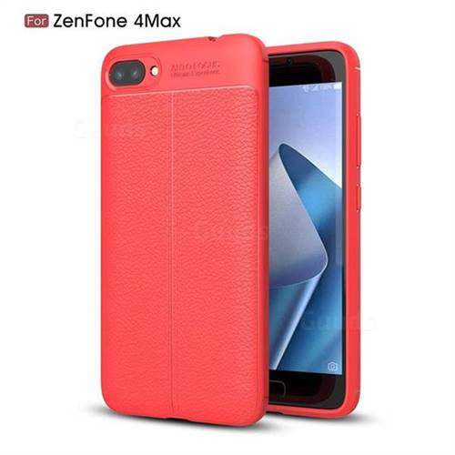 Luxury Auto Focus Litchi Texture Silicone TPU Back Cover for Asus Zenfone 4 Max ZC520KL - Red