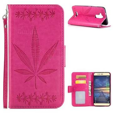 Intricate Embossing Maple Leather Wallet Case for Asus Zenfone 3 Max ZC520TL - Rose