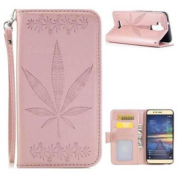 Intricate Embossing Maple Leather Wallet Case for Asus Zenfone 3 Max ZC520TL - Rose Gold
