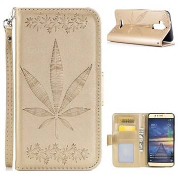 Intricate Embossing Maple Leather Wallet Case for Asus Zenfone 3 Max ZC520TL - Champagne