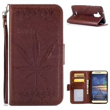 Intricate Embossing Maple Leather Wallet Case for Asus Zenfone 3 Max ZC520TL - Brown