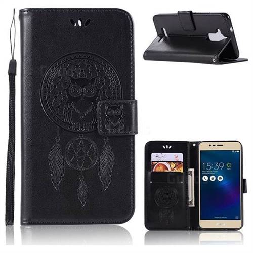 Intricate Embossing Owl Campanula Leather Wallet Case for Asus Zenfone 3 Max ZC520TL - Black