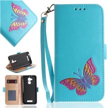 Imprint Embossing Butterfly Leather Wallet Case for Asus Zenfone 3 Max ZC520TL - Sky Blue