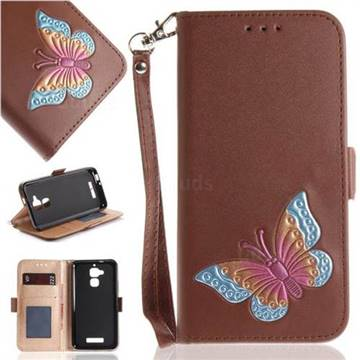 Imprint Embossing Butterfly Leather Wallet Case for Asus Zenfone 3 Max ZC520TL - Brown