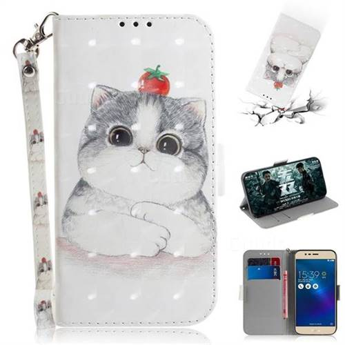 Cute Tomato Cat 3D Painted Leather Wallet Phone Case for Asus Zenfone 3 Max ZC520TL