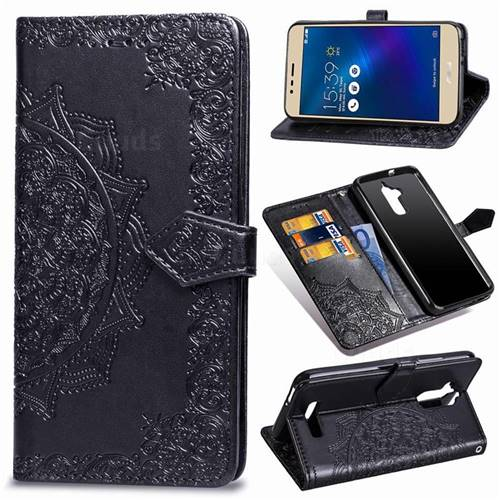 Embossing Imprint Mandala Flower Leather Wallet Case for Asus Zenfone 3 Max ZC520TL - Black