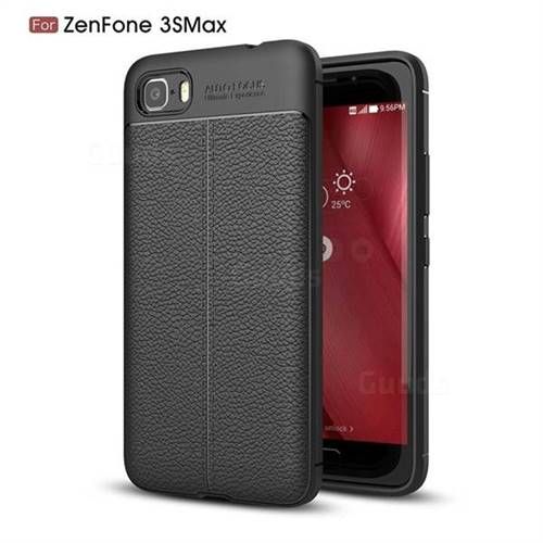 Luxury Auto Focus Litchi Texture Silicone TPU Back Cover for Asus Zenfone 3s Max ZC521TL - Black