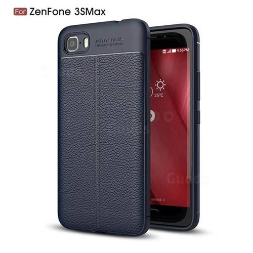 Luxury Auto Focus Litchi Texture Silicone TPU Back Cover for Asus Zenfone 3s Max ZC521TL - Dark Blue