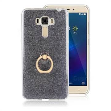 Luxury Soft TPU Glitter Back Ring Cover with 360 Rotate Finger Holder Buckle for Asus Zenfone 3 Laser ZC551KL - Black
