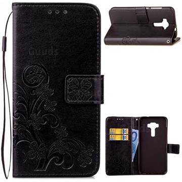 Embossing Imprint Four-Leaf Clover Leather Wallet Case for Asus Zenfone 3 Laser ZC551KL - Black