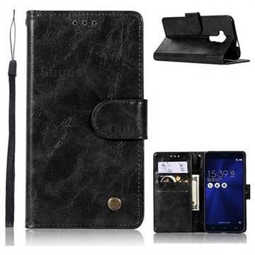 Luxury Retro Leather Wallet Case for Asus Zenfone 3 Laser ZC551KL - Black