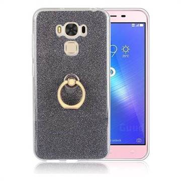 Luxury Soft TPU Glitter Back Ring Cover with 360 Rotate Finger Holder Buckle for Asus Zenfone 3 Max ZC553KL - Black