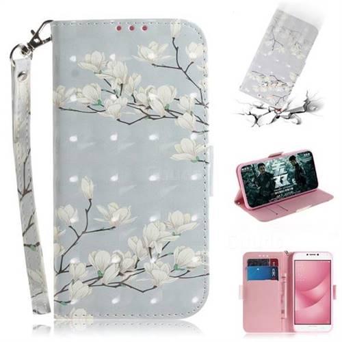 Magnolia Flower 3D Painted Leather Wallet Phone Case for Asus Zenfone 4 Max ZC554KL Pro Plus