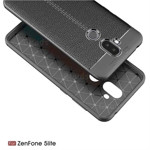 Luxury Auto Focus Litchi Texture Silicone TPU Back Cover for Asus Zenfone 5  Lite ZC600KL - Black