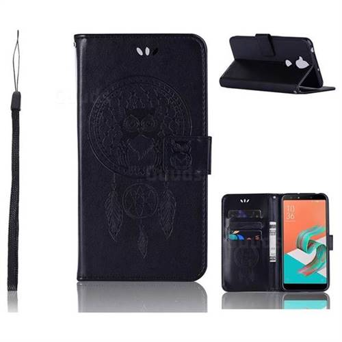 Intricate Embossing Owl Campanula Leather Wallet Case for Asus Zenfone 5 Lite ZC600KL - Black