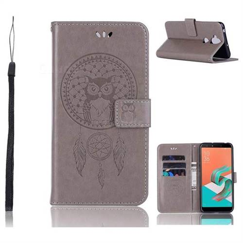 Intricate Embossing Owl Campanula Leather Wallet Case for Asus Zenfone 5 Lite ZC600KL - Grey