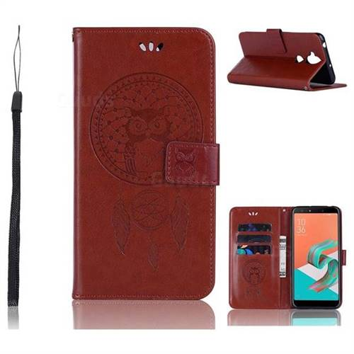 Intricate Embossing Owl Campanula Leather Wallet Case for Asus Zenfone 5 Lite ZC600KL - Brown