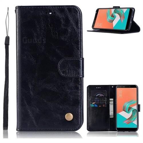 Luxury Retro Leather Wallet Case for Asus Zenfone 5 Lite ZC600KL - Black