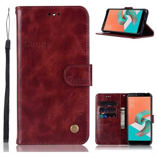Luxury Retro Leather Wallet Case for Asus Zenfone 5 Lite ZC600KL - Wine Red