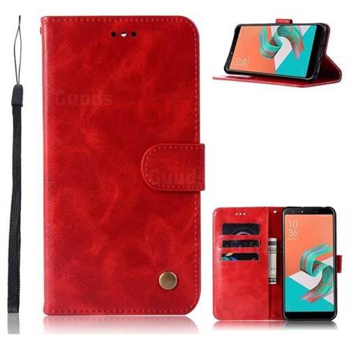 Luxury Retro Leather Wallet Case for Asus Zenfone 5 Lite ZC600KL - Red