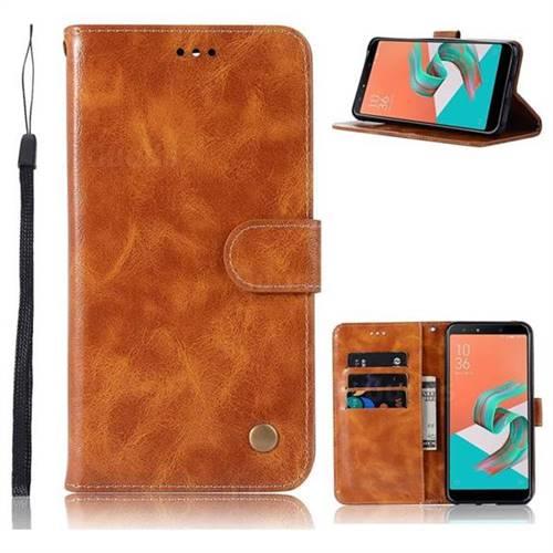 Luxury Retro Leather Wallet Case for Asus Zenfone 5 Lite ZC600KL - Golden