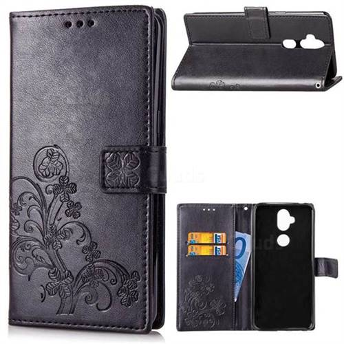 Embossing Imprint Four-Leaf Clover Leather Wallet Case for Asus Zenfone 5 Lite ZC600KL - Black