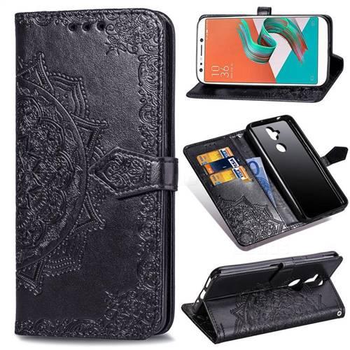 Embossing Imprint Mandala Flower Leather Wallet Case for Asus Zenfone 5 Lite ZC600KL - Black