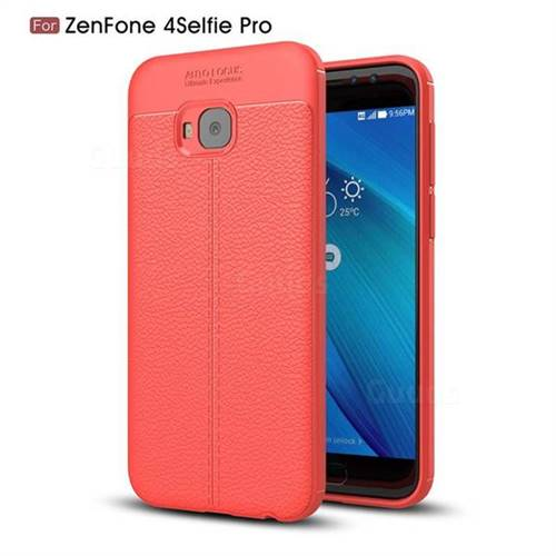 Luxury Auto Focus Litchi Texture Silicone TPU Back Cover for Asus Zenfone 4 Selfie Pro ZD552KL - Red