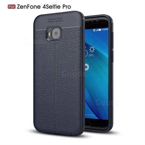Luxury Auto Focus Litchi Texture Silicone TPU Back Cover for Asus Zenfone 4 Selfie Pro ZD552KL - Dark Blue