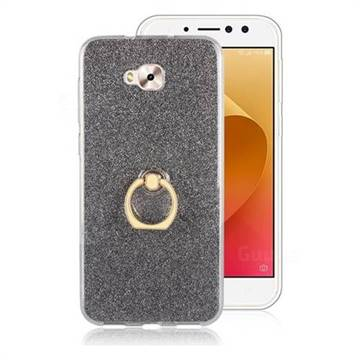 Luxury Soft TPU Glitter Back Ring Cover with 360 Rotate Finger Holder Buckle for Asus Zenfone 4 Selfie ZD553KL - Black