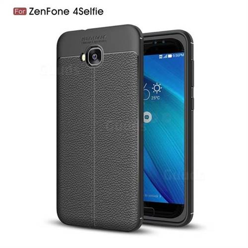 Luxury Auto Focus Litchi Texture Silicone TPU Back Cover for Asus Zenfone 4 Selfie ZD553KL - Black