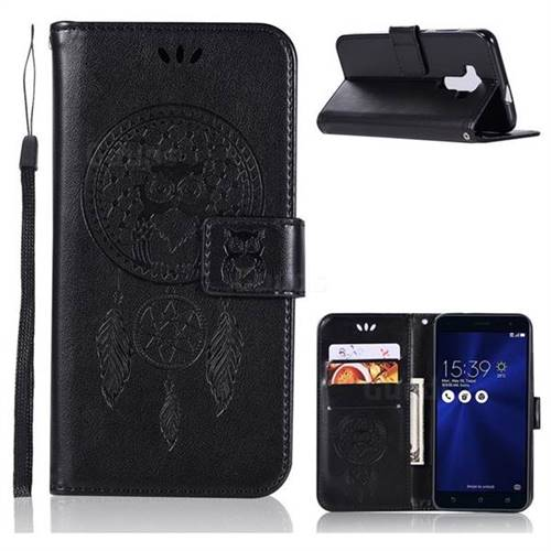 Intricate Embossing Owl Campanula Leather Wallet Case for Asus Zenfone 3 ZE520KL - Black