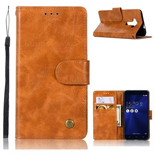 Luxury Retro Leather Wallet Case for Asus Zenfone 3 ZE520KL - Golden -  Leather Case - Guuds
